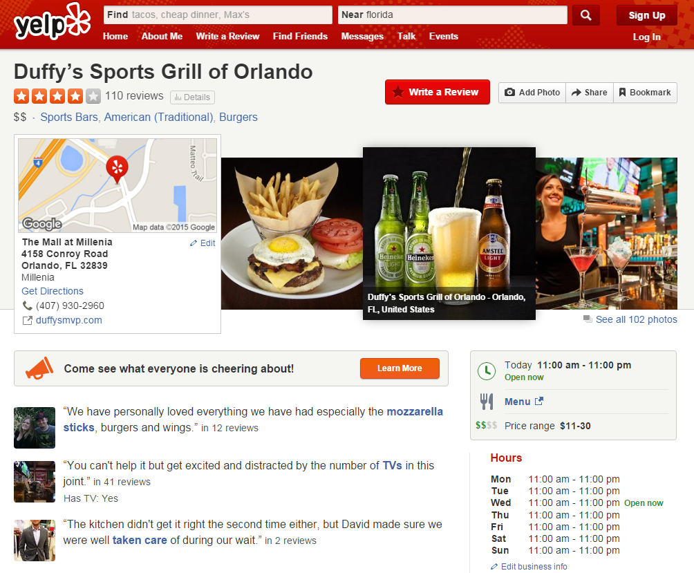 Restaurant reviews yelp - Yelp Page For Duffy S Sports Grill Of Orlando